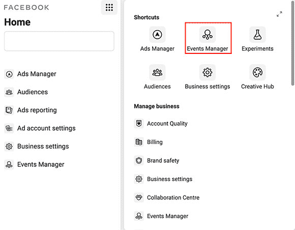 Facebook events manager settings