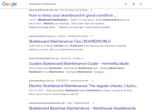 Google search for skateboard maintenance