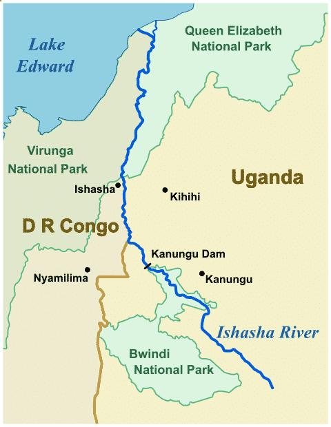 Uganda Ishasha River Map