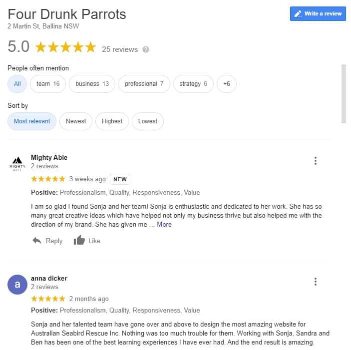 Four Drunk Parrots positive reviews